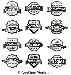 sätta, spansk, vektor, etiketter, retro