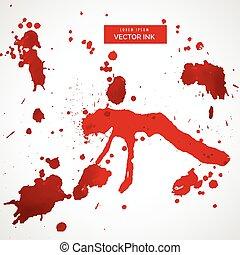 sätta, stänka ner, vektor, blod, fläck, röd