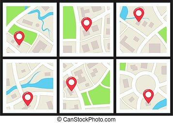 sätta, stad, vektor, kartera
