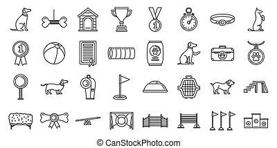 sätta, stil, hund, jaga, skissera, utbildning, ikonen