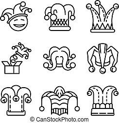sätta, stil, ikon, skissera, gyckelmakare