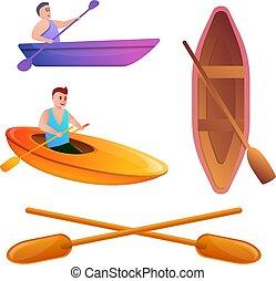 sätta, stil, tecknad film, canoeing, ikonen