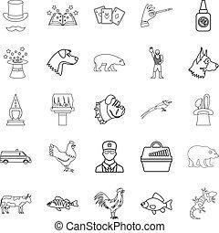 sätta, stil, veterinär, skissera, ikonen