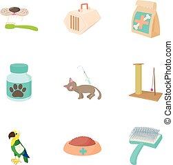 sätta, stil, veterinär, tecknad film, ikonen