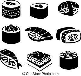 sätta, sushi