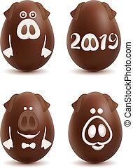 sätta, symbol, gris, dekoration, year., boll, 2019, choklad egga, jul