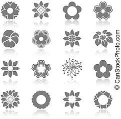 sätta, -, symbol, vektor, blomma, blomning, skugga, ...