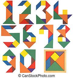 sätta, tangram, numrerar