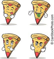 sätta, tecken, tecknad film, kollektion, pizza