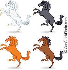 sätta, tecknad film, häst