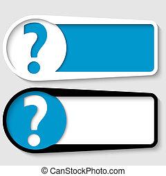 sätta, text, fråga, två, märke, rutor, några