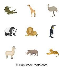 sätta, tiger, mammalian, artiodactyla, ikonen, emu, annat, ...