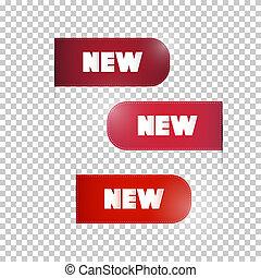 sätta, titel, märken, etiketter, färsk, röd