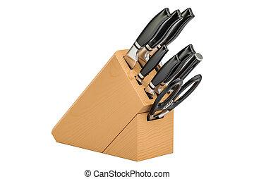 sätta, trä, framförande, kvarter, kniv, 3