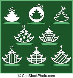 sätta, träd, jul