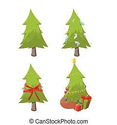 sätta, träd, kollektion, vektor, design, jul