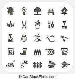 sätta, trädgårdsarbete, ikonen