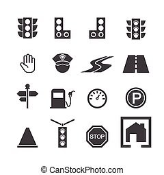 sätta, trafik, ikon