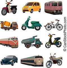 sätta, transport, ikonen