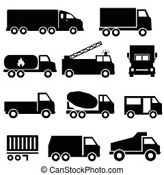 sätta, transport, lastbilar, ikon