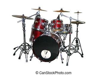 sätta, trumma, isolerat