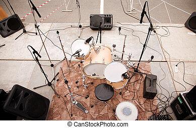 sätta, trumma