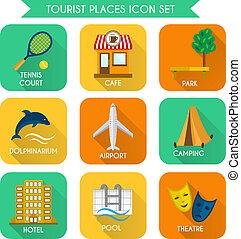 sätta, turist, ställen, ikon