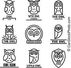 sätta, uggla, stil, skissera, logo