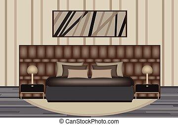 sätta, upphöjande, rum, lamp., sida, säng, design, lyxvara, sovrum, inre, bord, illustration., din, möblemang