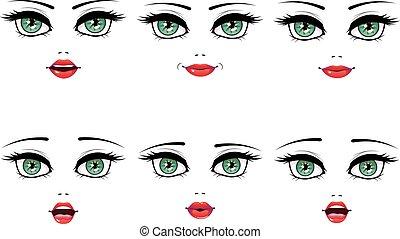 sätta, uttryck, kvinnlig, ansiktsbehandling