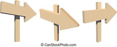 sätta, utvandringar, trä, illustration, bakgrund., vektor, vit