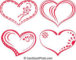 sätta, valentinbrev, hjärta