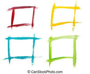 sätta, vattenfärg, ram, isolerat, på, a, vit fond