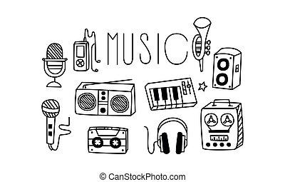 sätta, vectoe, ikonen, hörlurar, theme., släkt, microphone...