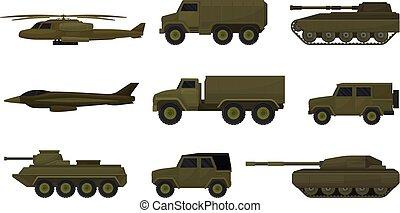 sätta, vehicles., bakgrund., vektor, illustration, militär, vit