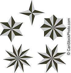 sätta, vektor, 3, stjärna, illustration