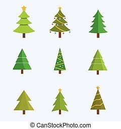 sätta, vektor, träd, jul