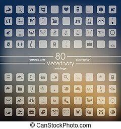 sätta, veterinär, ikonen