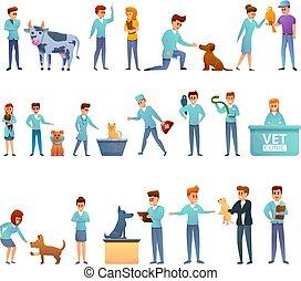 sätta, veterinär, stil, tecknad film, ikonen