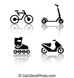 sätta, -, ytterlighet, transport, ikonen