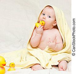säugling, handtuch