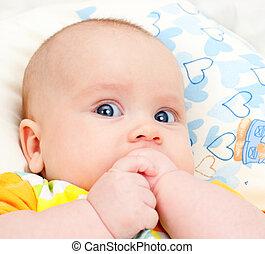 säugling, mund, hände