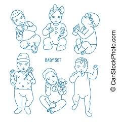 säugling, satz, kunst, spielzeuge, monochrom, kinder, verschieden, angezogene , style., vektor, verschieden, babys, gezeichnet, besitz, sammlung, kleinkinder, linie, illustration., rattles., haltungen, oder, kleidung