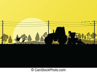 sådd, land, traktor, skörd, fält, vektor, illustration, bakgrund, bildad, lantbruk, landskap