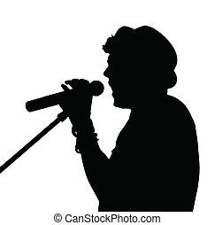 sångare, silhuett, pop
