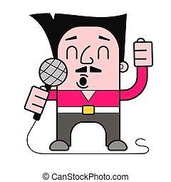 sångare, vektor, mikrofon, illustration, räcker