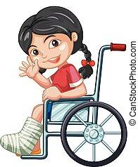 såradt, hjul, flicka, stol
