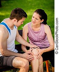 såradt, knä, sport, -
