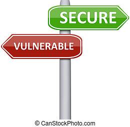sårbar, och, säkra