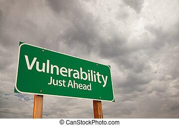 sårbarhet, grön, vägmärke, över, stormmoln